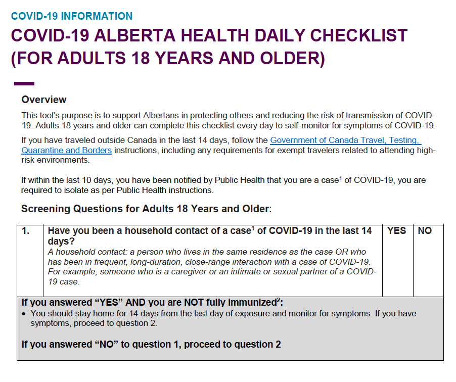 COVID-19 ALBERTA HEALTH DAILY CHECKLIST (FOR ADULTS 18 YEARS AND OLDER and UNDER 18)